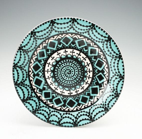Bohemian Mandala Plate / Teal Blue, Black, and White Dinnerware