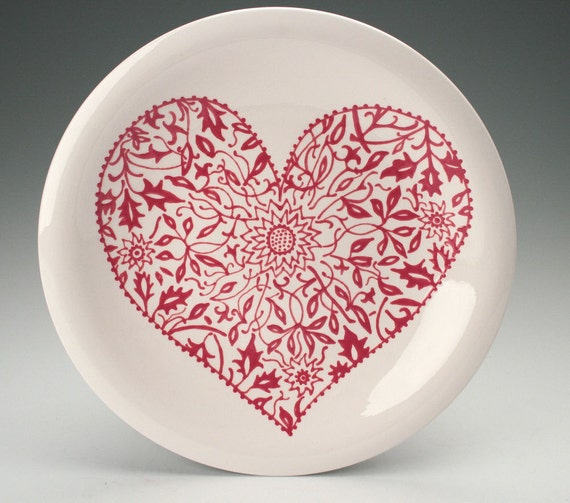 Heart Plate 10 Hand Painted Floral Pattern Red And White