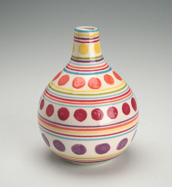 Small Gourd Vase Stripes and Dots Hand Painted Flower Vase Organic Shape