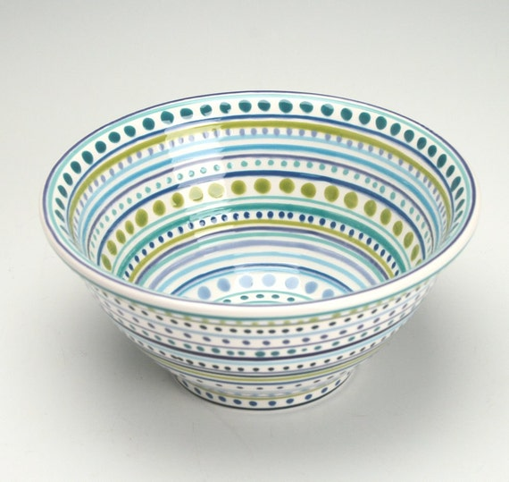 Serving Bowl Blues and Lime Hand Painted Colorful Fruit or Small Mix Bowl