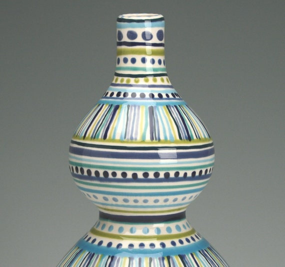 Double Gourd Vase Stripes and Dots Hand Painted Flower Vase Organic Shape Greens Blues