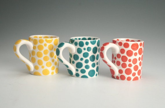 Orange Polka Dots Mug - There are Dots on My Mug - Hand Painted