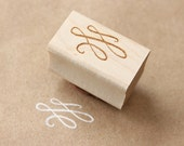 calligraphy flourish wooden rubber stamp