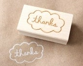 thanks cloud wooden rubber stamp