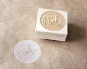 custom / personalized name round wooden rubber stamp