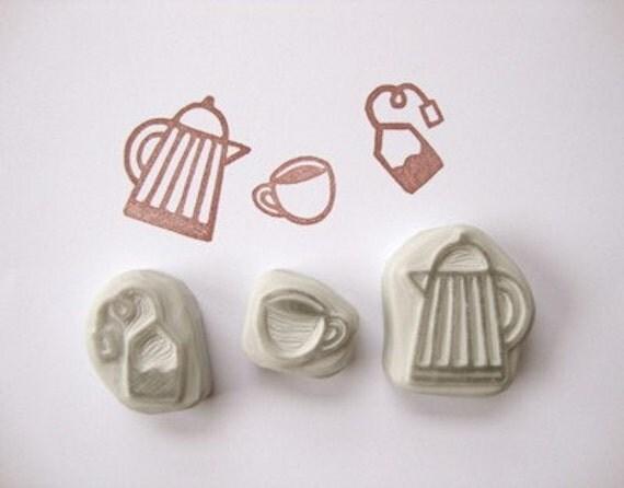 Time for tea hand carved rubber stamp set