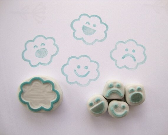 Cloud Emotions Hand Carved Rubber Stamp Set