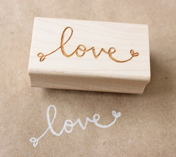 love wooden rubber stamp - valentines day