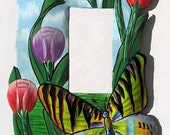 Switchplate Cover - Hand Painted Metal Butterfly Steel Drum Art - Single Rocker Switch Plate Covers - Painted Butterflies -  SR-1139-1