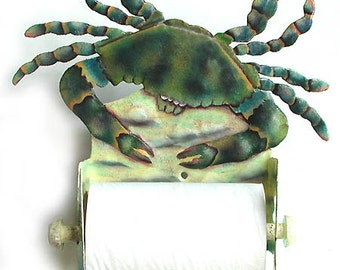 Blue Crab Toilet Paper Holder - Nautical Hand Painted Metal Bathroom Decor - Toilet Tissue Holder - Tropical Beach House Decor - K7066-TP