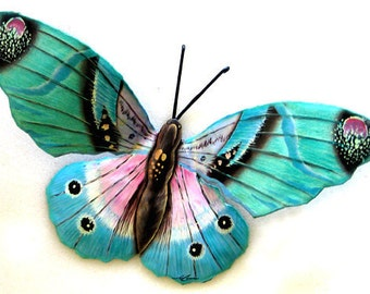 "Butterflies - Painted Metal Wall Art Butterfly - Butterfly Metal Wall Decor- 13"" Garden Art - Metal Art, Outdoor Metal Wall Art, 516-MW-AQ"