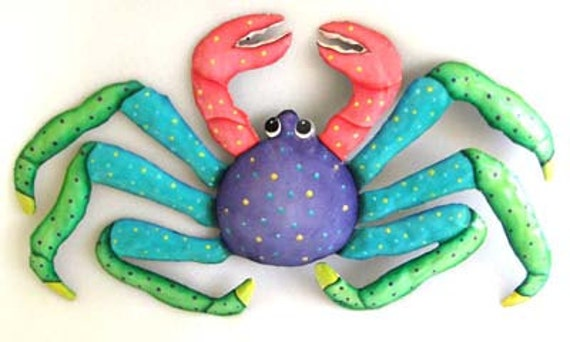 Crab Wall Hanging - Metal Wall Art - Hand Painted Metal Tropical Design - Metal Art - Metal Wall Decor, Nautical Design - FM-217-PU
