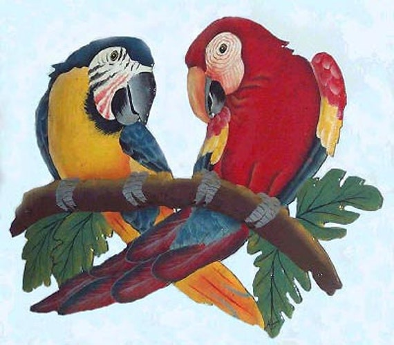 Tropical Metal Wall Art parrot hand painted metal wall art decor tropical decor