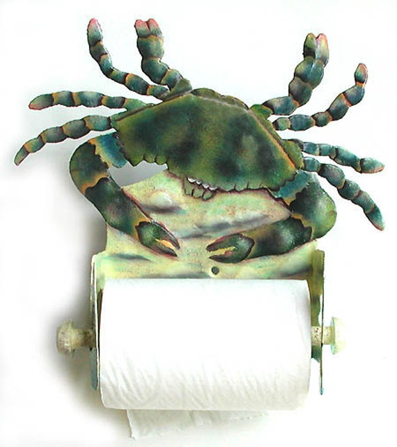 Blue Crab Toilet Paper Holder - Nautical Hand Painted Metal Bathroom Decor - Toilet Tissue Holder - Tropical Beach House Decor - K7066-TP