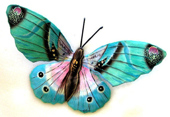 Butterfly metal wall decor 22 painted outdoor garden for Outdoor butterfly decor