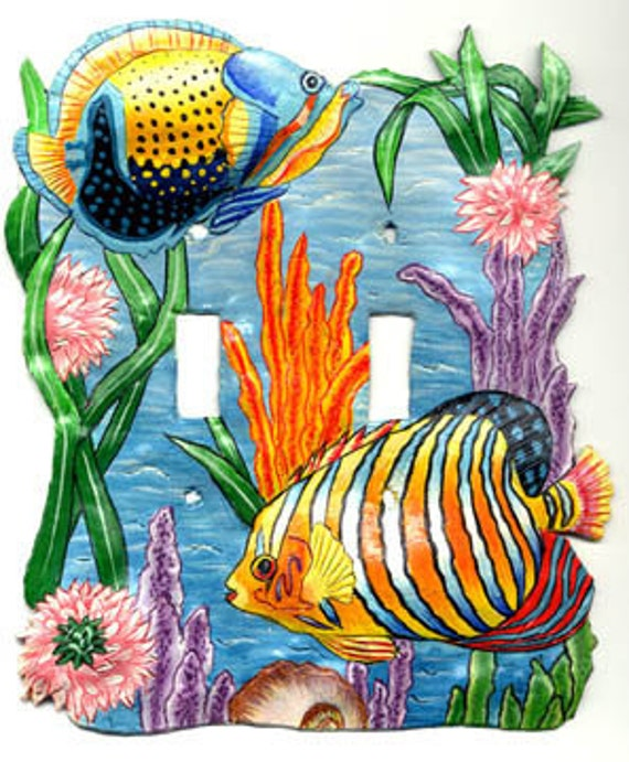 Switchplate Covers, Double Light Switch Plate Cover, Hand Painted Metal Tropical Fish- Haitian Steel Drum Art, Tropical Home Decor S-1016 -2