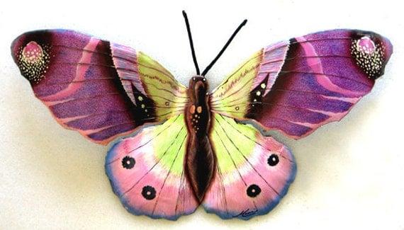 """Painted Metal Butterfly Art - Purple Butterfly Metal Art Wall Decor - 34"""" Hand Painted Garden Art - Metal Wall Art - 516-34-PU"""