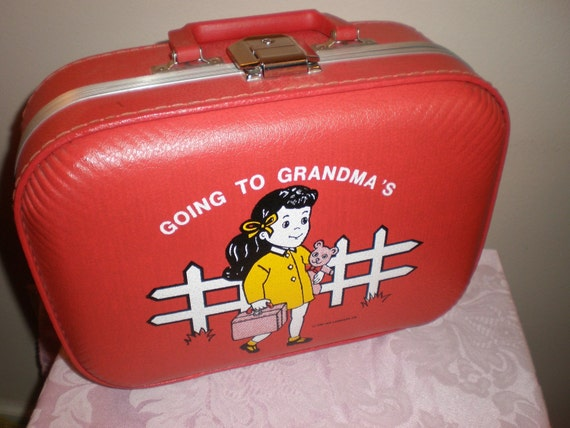 Vintage Child S Suitcase Going To Grandma S Red