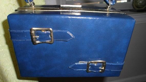 Vintage Mad Men 1960s Navy Blue Buckle Box Purse...Treasury Item