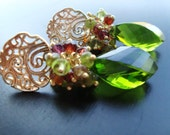 Reserved Listing-Green Wire Wrapped Earrings - Gold with Sparkling Green Quartz with Ruby and Peridot- Autumn Gemstones