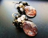 Rutilated Quartz Earrings, Copper Veins, Doublet Stone, Gemstone Earrings, Wire Wrap, Black , White Moonstone