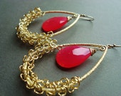 Pink Glam Earrings, Divine Chalcedony, Gold Earrings, Large Chandeliers, Hoops, Honeysuckle Pink Earrings