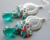 Sea Green Gemstone Earrings, Aquamarine, Blue Green Quartz Earrings, Silver Chandelier, Carnelian, Neon Blue Apatite