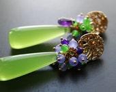 Lemon Lime Quartz Earrings, Lime Green, Purple Amethyst, Gold Posts, Jade, Gemstone, Gold filled, Long Earrings