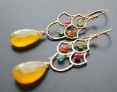 Yellow Gemstone Earrings Peridot Carnelian Aquamarine Ruby Gold Wire Wrapped