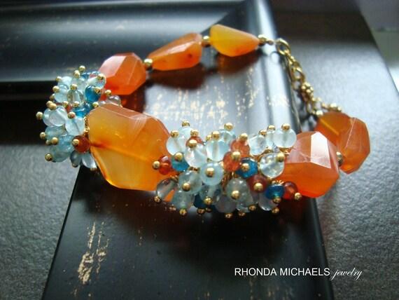 Reserved -Aruba Bracelet- Tangerine Carnelian Gemstones with Aqua and Gold Accents
