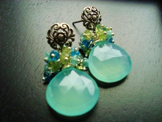Cockatoo Gemstone Earrings, Silver, Gemstone Earrings, Blue Earrings, Lime Green, Aqua, Cluster, Peridot, Apatite, Aquamarine rondelles