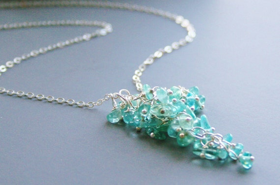 Aquamarine Necklace, Sterling silver Wire wrapped,  Waterfall Aquamarine Gemstones, Cluster, Necklace