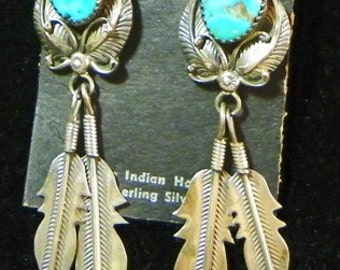 Vintage Sterling and Turquoise Earrings (item 1008)