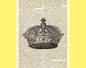 Crown Vintage Illustration Print on Antique 1896 Dictionary Book Page
