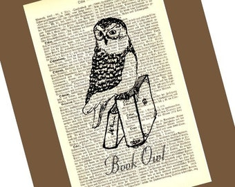 Bookowl Illustration Print on Antique 1896 Dictionary Book Page