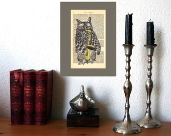 Saxophone Owl Art Print on Antique 1896 Dictionary Book Page