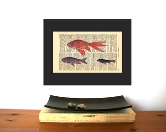 Goldfish Group Vintage Art Print on Antique 1896 Dictionary Book Page