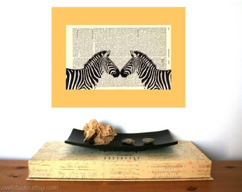 Irresistible Love Zebra Art Print on Antique 1896 Dictionary Book Page