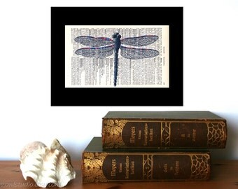 Dragonfly Art Print Print on Antique 1896 Dictionary Book Page