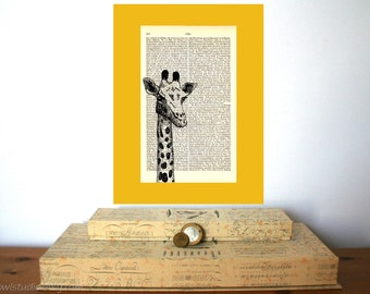 Giraffe Head Vintage Art Print on Antique 1896 Dictionary Book Page