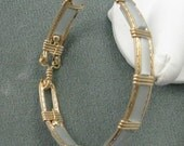 Grey Cats Eye and 14k Goldfilled Wire 7 inch Bangle
