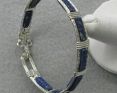 Lapis and Sterling Silver Eight inch Bangle