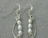 Fresh Water Pearl and Sterling Silver Earrings.