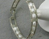 Fresh Water Pearl and  Silver 7 inch Bangle