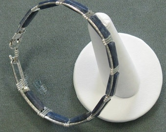 Blue Aventurine and Sterling Silver 8 inch Bangle