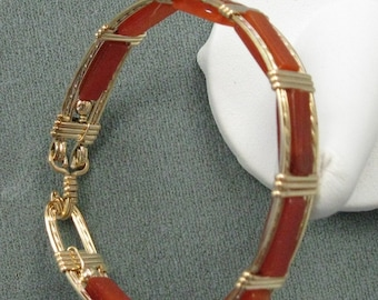 Carnellian and 14k Goldfilled Wire 7 inch Bangle