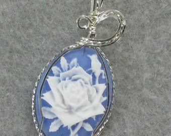 White Rose Cameo and Sterling Silver Wire Pendant