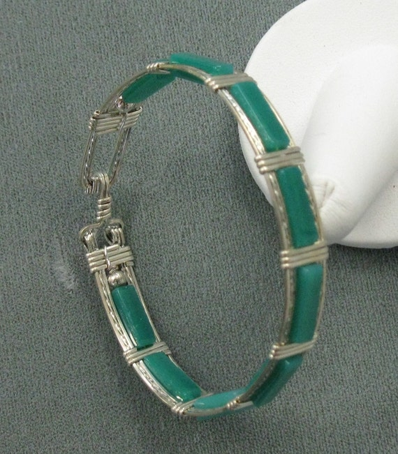 Green Onyx and Sterling silver 7 inch Bangle