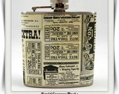 Newspaper Ad Whiskey Flask Assortment Collage of Vintage Clippings Black and White Gift Stainless Steel 8 oz or 6 oz Liquor Hip Flask