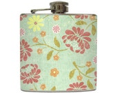 Blue and Pink Floral Liquor Flask Flowers Swirls Vintage Girls Bridesmaids Gift Stainless Steel 8 oz or 6 oz Liquor Hip Flask LC-1031